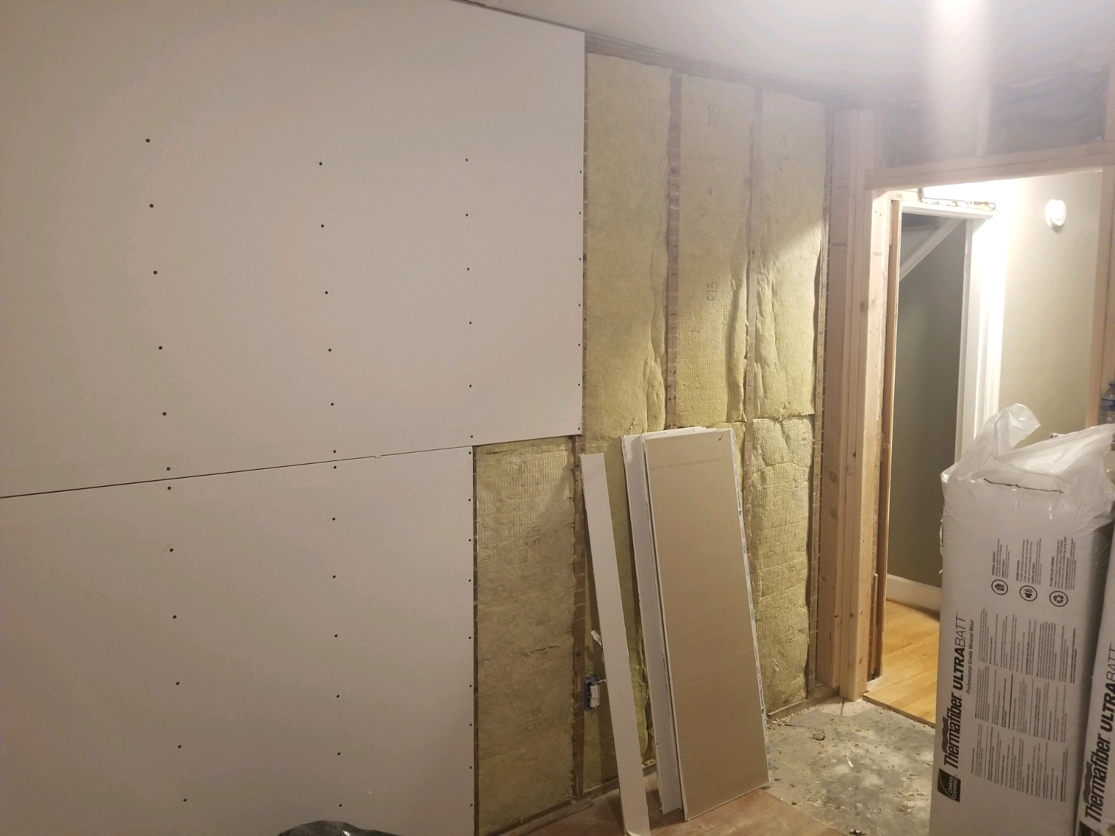 commercial drywall install at business